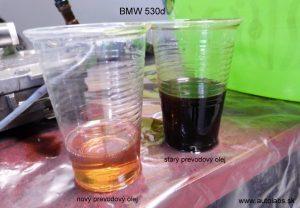 bmw 530d 2003 - porovnanie starého a nového prevodového oleja