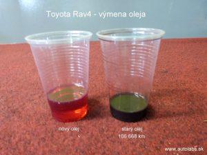toyota rav4 2004 - porovnanie starého a nového prevodového oleja